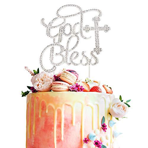 - God Bless Cross Silver Crystal Metal Rhinsetone Cake Topper Baptism Christening Communion Baby Shower Birthday Wedding Party Keepsake Decorations Supplies