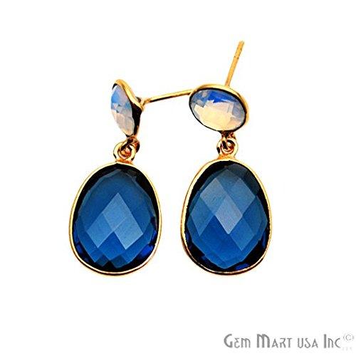 White Agate with Iolite Earring, Dangle Drop Stud, Studs Earring, GemMartUSA (GDER-90083) (Iolite Ring Bezel)
