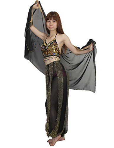 [3 PCS SET Belly Dance Womens Sexy Crop Top, Harem Pants & Scarf Set Black] (Belly Dance Costumes Custom)