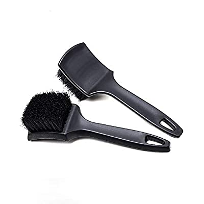 2 Pack Tire Brush, Black Stiff Bristle Wheel Cleaning Brush, Car Carpet Brush, Detail Brush: Automotive