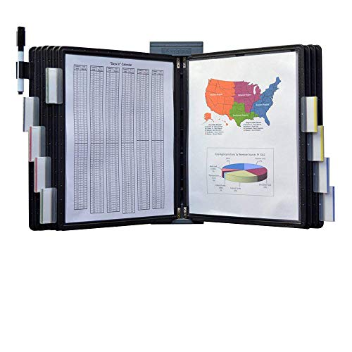 Ultimate Office DocuMate 10-Pocket Wall Reference Organizer with Black Easy-Load Pockets, Steel-Reinforced Pins, and Free Bonus Panel