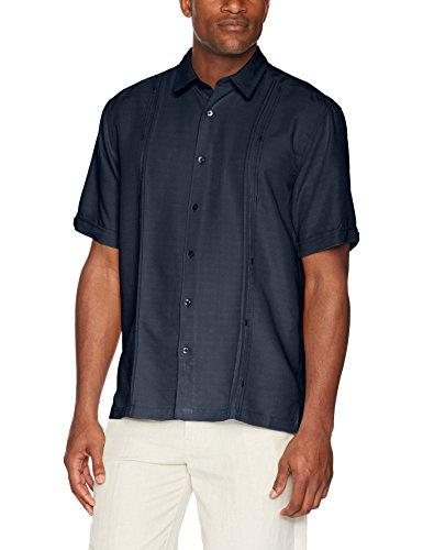 Cubavera Men's Short Sleeve Cuban Camp Shirt with Contrast Insert Panels, Navy Blazer with Tuck Variation, (Panel Camp Shirt)