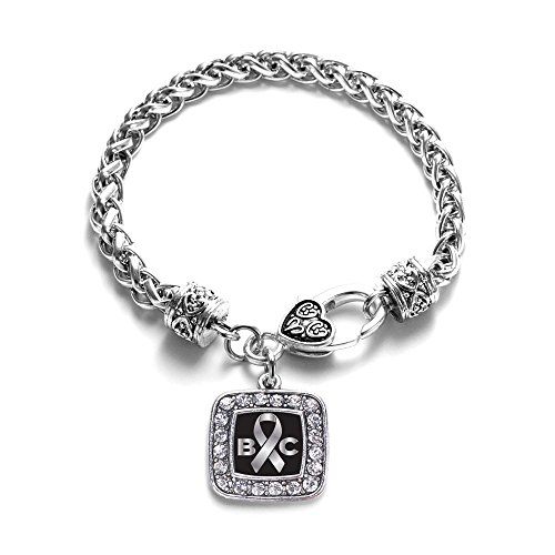 Ribbon Awareness Sterling Bracelet Silver (Brain Cancer Awareness Classic Silver Plated Square Crystal Charm Bracelet)