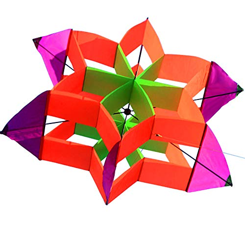 Hengda Kite-New Version 42 Inch So Beautiful 3D Lotus Flower Kite For Kids And Adults Easy To Carry With Flying Line (Star Kite)