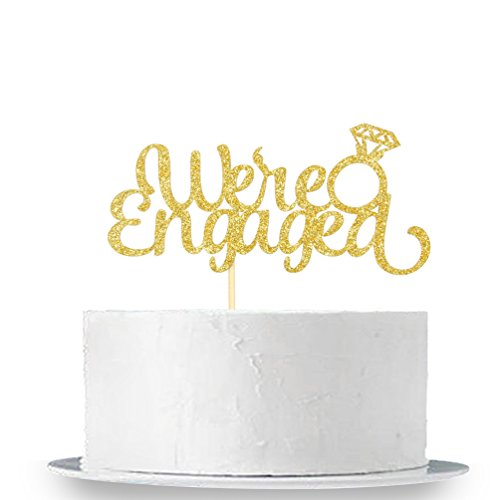 Gold Glitter Were Engaged Cake Topper - Weddings Party Decorations Supplies