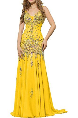 V Lang Gelb Damen Abschlussballkleider Steine mit Chiffon La Braut mia Ausschnitt Ballkleider Abendkleider HYTqqpIx