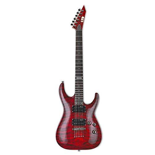 ESP LTD MH-100QMNT Electric Guitar, See Thru Black - Cherry See Thru