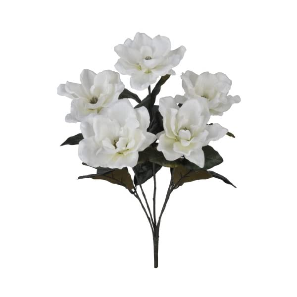House of Silk Flowers Artificial 21-inch White Magnolia Bush (12 Bushes)