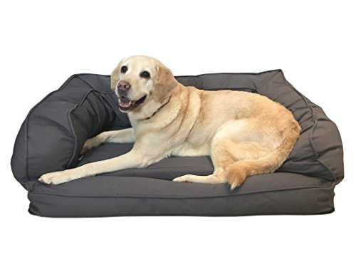 PAWSTECH Orthopaedic Memory Foam Dog Bed (XL Grey, 100 x 70 x 35cm). With...