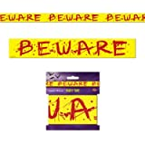 Beware Party Tape (Size: 20 Feet x 3 Inches, Pack of 2) Halloween Party Decoration, Haunted House Scene Creation