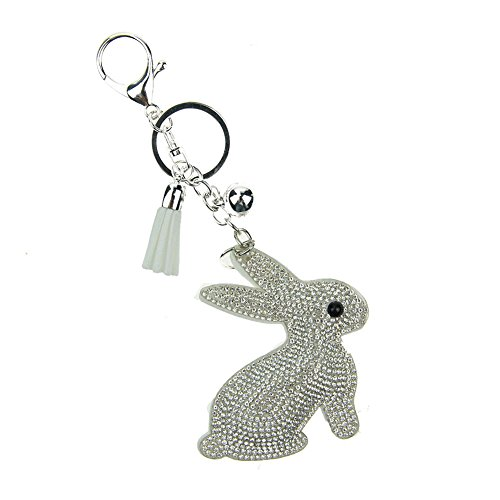 Rhinestone Rabbit Pendant - BAOBAO Lovely Rabbit Crystal Rhinestone Leather Tassel Pendant Keychain Car Bag Keyring