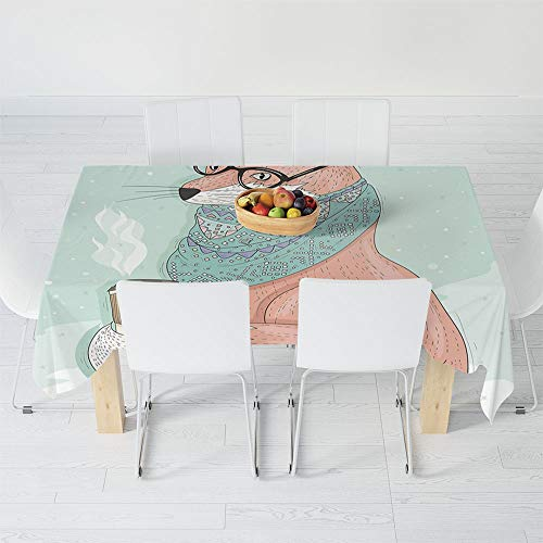 TecBillion No Fading Tablecloth,Animal Decor,for Table Outdoor Picnic Holiday Dinner,70.1 X 52 Inch,Cute Hipster Fox with Glasses and Scarf