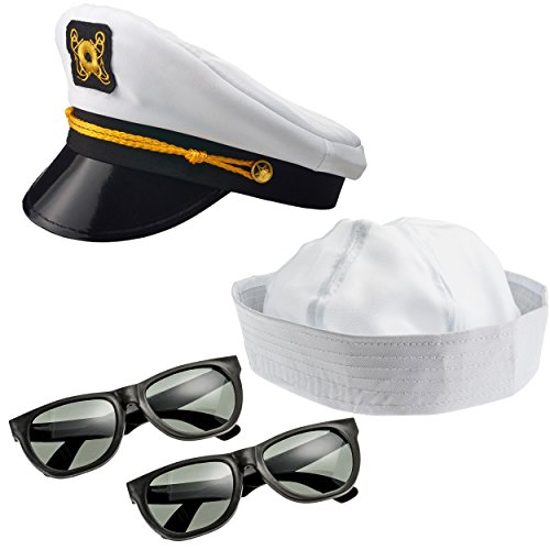 NJ Novelty - Yacht Captain Hat, Boat Sailor Ship Skipper Cap Adult Costume Accessory (Yacht Hat, Sailor Hat & Sunglasses) -