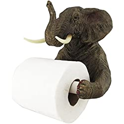 Pachyderm Servant Safari Elephant Holding Toilet Tissue Paper Holder Figurine Home Decor Great Gift For Savanna Lovers Elephant Fans Excellent Decor For Toilets Powder Rooms