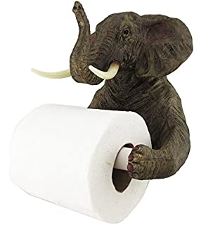Pachyderm Servant Safari Elephant Holding Toilet Tissue Paper Holder  Figurine Home Decor Great Gift For Savanna