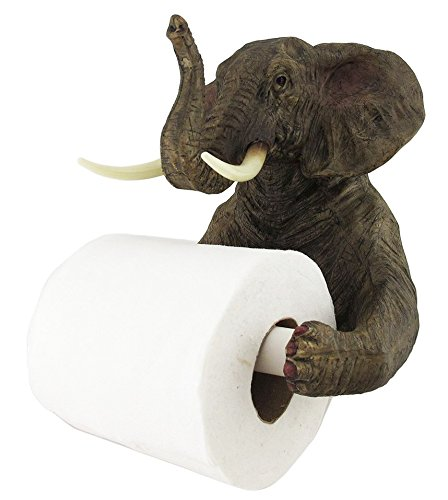 Ebros Pachyderm Servant Safari Elephant Holding Toilet Tissue Paper Holder Figurine Home Decor Great Present For Savanna Lovers Elephant Fans Excellent Decor For Toilets Powder Rooms   from Ebros Gift