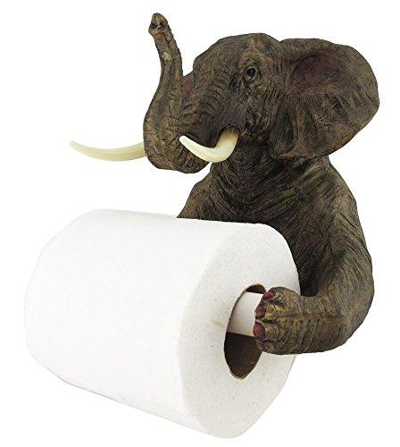- Ebros Pachyderm Servant Safari Elephant Holding Toilet Tissue Paper Holder Figurine Home Decor Great Present For Savanna Lovers Elephant Fans Excellent Decor For Toilets Powder Rooms
