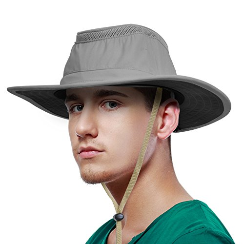 Sun Blocker Unisex Wide Brim Boonie Bucket Sun Hat Outdoor Fishing Boating Safari Hat with Adjustable Drawstring for Small Head Grey