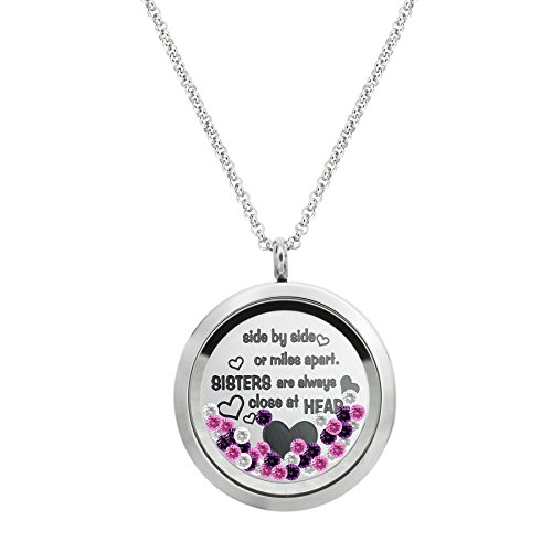 Side ... Sister Are Always Close At Heart Family Daisy Flower Stainless Steel Locket Pendant Floating Charms Necklace (Stainless Collection Pendant Steel)