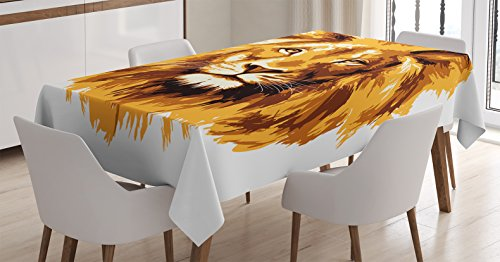 Ambesonne Safari Decor Tablecloth, Illustration of The Lion King Biggest Cat in Africa Icon Animal in Tropics Artwork, Rectangular Table Cover for Dining Room Kitchen, 52 W X 70 L inch, Amber White by Ambesonne