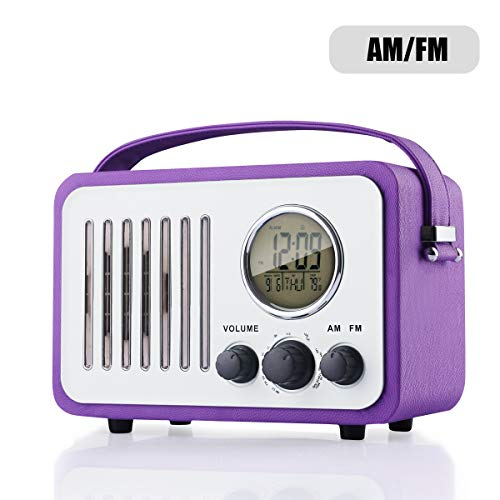 Retro AM/FM Radio, Portable Alarm Clock Radio with LCD Scree