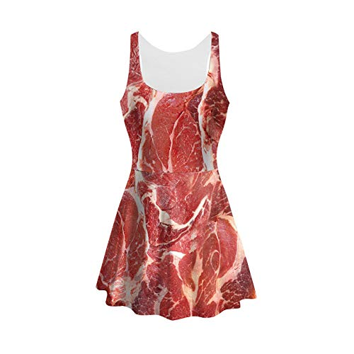 Mosszra Raw Meat Beef Print 3D Cosplay Anime Costume Trend Tight Skinny Dress -