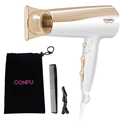 Negative Ionic Hair Dryer, CONFU 1875W Folding Ceramic Tourmaline Low Noise Lightweight Blow Dryer for Pregnancy Kids, Quiet Fast Drying Hairdryer with Concentrator for Home
