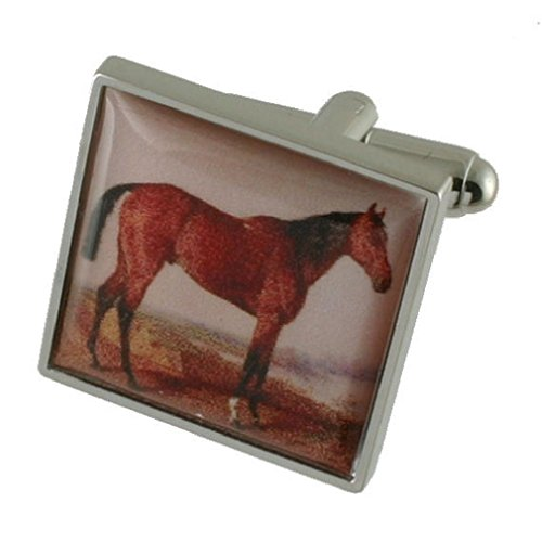 Select Gifts Stallion Race Horse Painting Solid Sterling Silver 925 Cufflinks with Optional Engraved Message Box ()