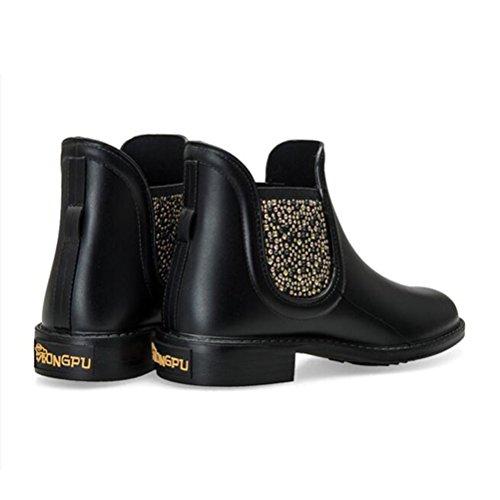 Beads Ankle Rain Boots Boots Slip Women's TONGPU On Black q5YaZt