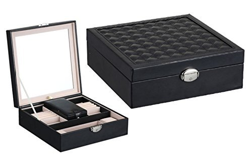 iSuperb Jewelry Organizer Box Leather Makeup Case Storage Display for Travel (Black)