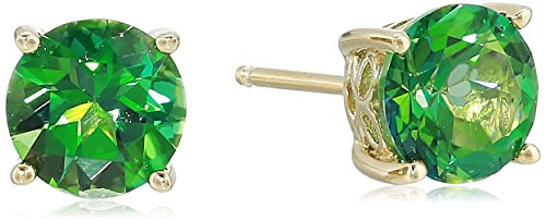 Yellow Gold Plated Sterling Silver Rainforest Green Topaz Stud Earrings made with Swarovski Topaz Gemstones