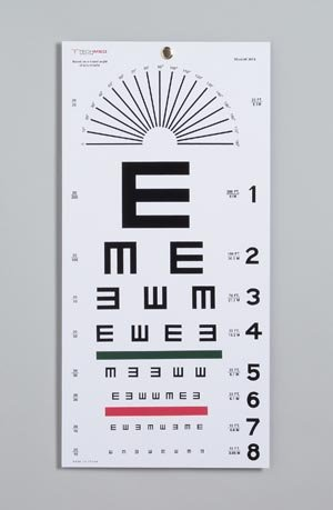 DUKAL 3051 Tech-Med Plastic Eye Chart, Tumbling E, Non-Reflective Matte Finish, 20