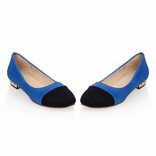 Latasa Womens Cute Two-toned Faux Suede Square-toe Slip on Flats Pumps Shoes blue ( main color ) U75A0zOJ