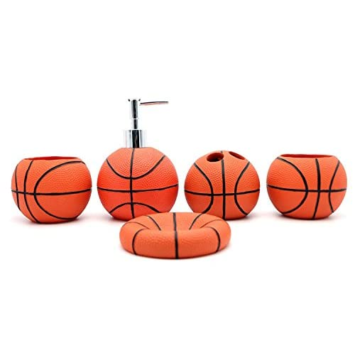 Discount JynXos Resin 5 Pieces Bathroom Accessory Set -Basketball Design Ensemble Bathroom Vanities Home Decor hot sale