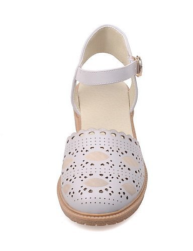 Low Toe Round Casual Shoes Sandals Leatherette Women's beige ShangYi White Gray Heel Pink Beige qtYRpw