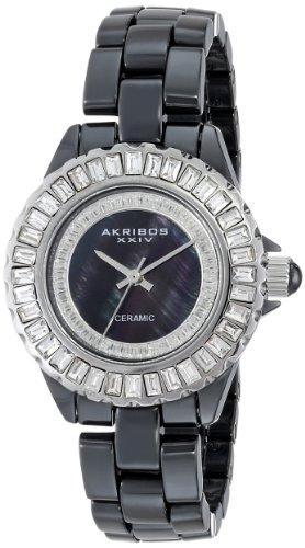 Akribos XXIV Women's AK518SSB Ceramic Quartz Baguette Bracelet Watch