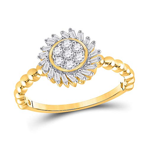 10kt Yellow Gold Womens Round Diamond Baguette Flower Cluster Ring 1/3 Cttw Ring Size 7