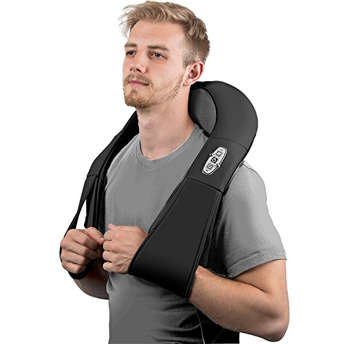 Neck Shoulder And Back Massager with Heat – Kneading Shiatsu Massage Home & Car Adapter