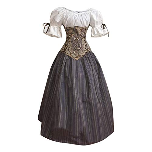 SuperXC Women's Fashion Gothic Retro Waist Stitching Dress Puff Sleeves Fluffy Dress Gray (New Irish Dance Solo Dresses For Sale)