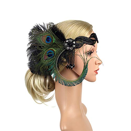 Art Deco 1920s Flapper Feather Headpiece Roaring 20s Great Gatsby Headband for Women Green for $<!--$12.99-->