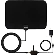 Reignet TV Antenna Amplified Indoor HDTV Antenna 50 to 70 Mile Range with Detachable Amplifier Signal Booster and 16.5FT Coax Cable - Black