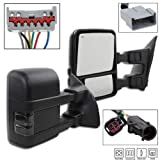 TRIBLE SIX Passenger&Driver Side Towing Mirrors for 1999-2007 Ford F-250 F-350 F-450 F-550 Super Duty Truck Pair of Black Powered + Smoked Signal Glass + Manual Extenable