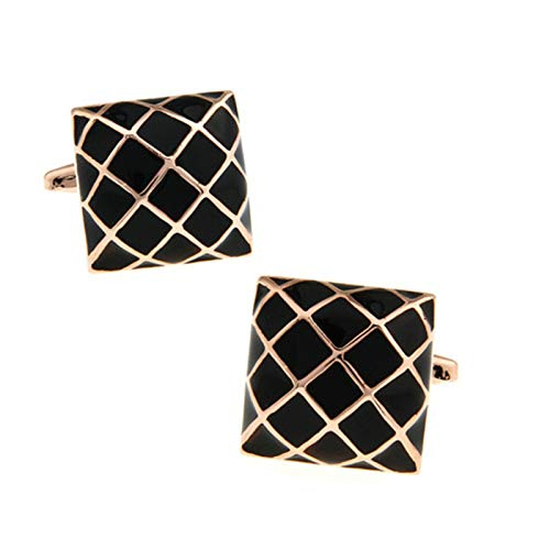 ANAZOZ Cuff Links Mens, Square Grid Rose Gold French Tuxedo Shirt Cufflinks