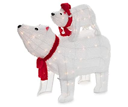 light up polar bear set 2 piece - Pre Lit Polar Bear Christmas Decoration Set Of 3