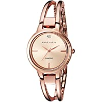 Anne Klein Women's AK/2626RGRG Diamond-Accented Dial Rose Gold-Tone Open Bangle Watch