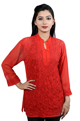 Mujer Damas Niñas Túnica/Superior gorgette conjunto bordado medias de ganchillo funda Kurti India Pakistán Full-Red