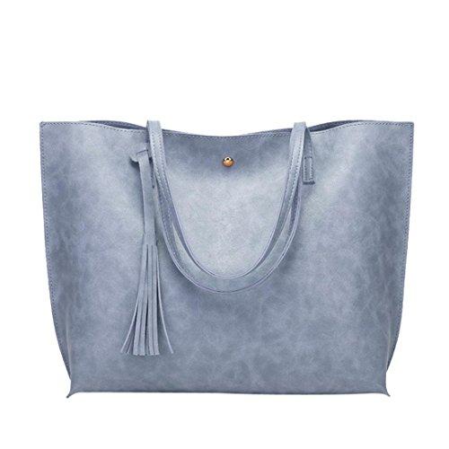 Damen Handtaschen, Huhu833 Frau Casual Taschen Frauen Leder Quaste Große Kapazität Handtasche Schultertasche Umhängetasche Blau