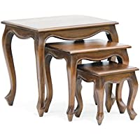 NES Furniture Nes Fine Handcrafted Furniture Solid Mahogany Wood Queen Anne Nesting Tables - 24, Light Pecan