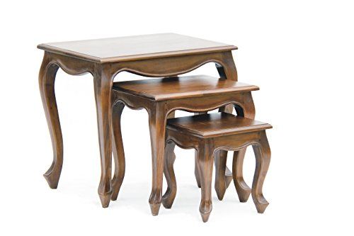 NES Furniture Fine Handcrafted Solid Mahogany Wood Queen Anne Nesting Tables - 24 inches Queen Anne Hall Table