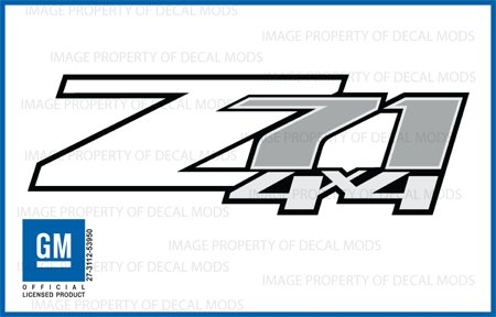 Chevy Silverado Z71 4x4 WHITE decals stickers - FW (2007-2013) bed side 1500 2500 HD (set of 2)